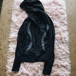 Lulu Lemon Zip Up Jacket Cozy Gray Black Athletic